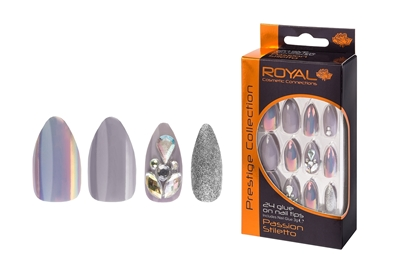 Picture of £3.99 ROYAL GREY GLITZ NAILS (6)