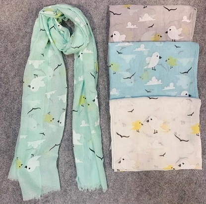 Picture of £5.99 BIRD PRINT SCARVES 4 ASST (12)