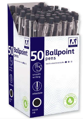 Picture of £0.10 BALL POINT PENS BLACK (50)