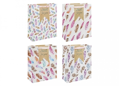 Picture of £0.99 GIFT BAG FEATHERS DESIGN MED(12)