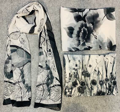 Picture of £6.99 MONO FLORAL SCARVES 3 ASST (12)