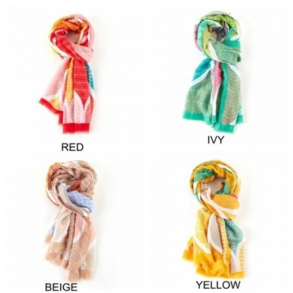 Picture of £7.99 GEO LEAVES SCARVES 4 ASST