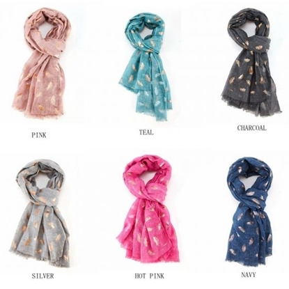 Picture of £7.99 ROSE GOLD FEATHERS SCARVES 6 ASST