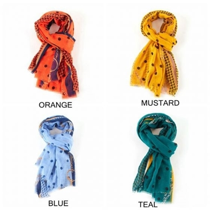 Picture of £8.99 POLKA CHAINS SCARVES 3 ASST
