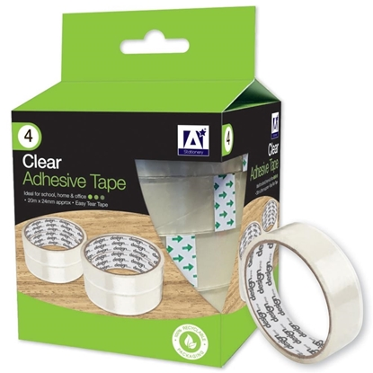 Picture of 4 x CLEAR ADHESIVE TAPE ROLLS 20M X 24mm