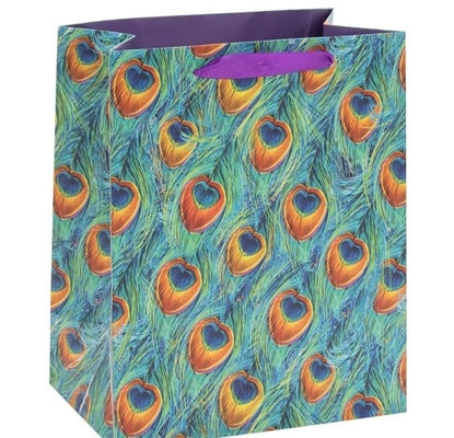Picture of £0.99 PEACOCK FEATHERS GIFT BAGS MEDIUM