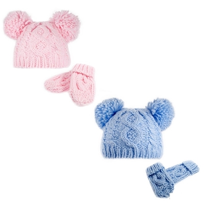 Picture of £4.99 BABY POM POM HAT & MITTENS SET